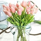 Fleurs Artificielles Deco Bouquet de Fausse Fleur,Tulipe en Soie Avec Vrai Contact Bouquet de Mariage pour fête de Jardin à la Maison Décor Floral de 12 Pièces