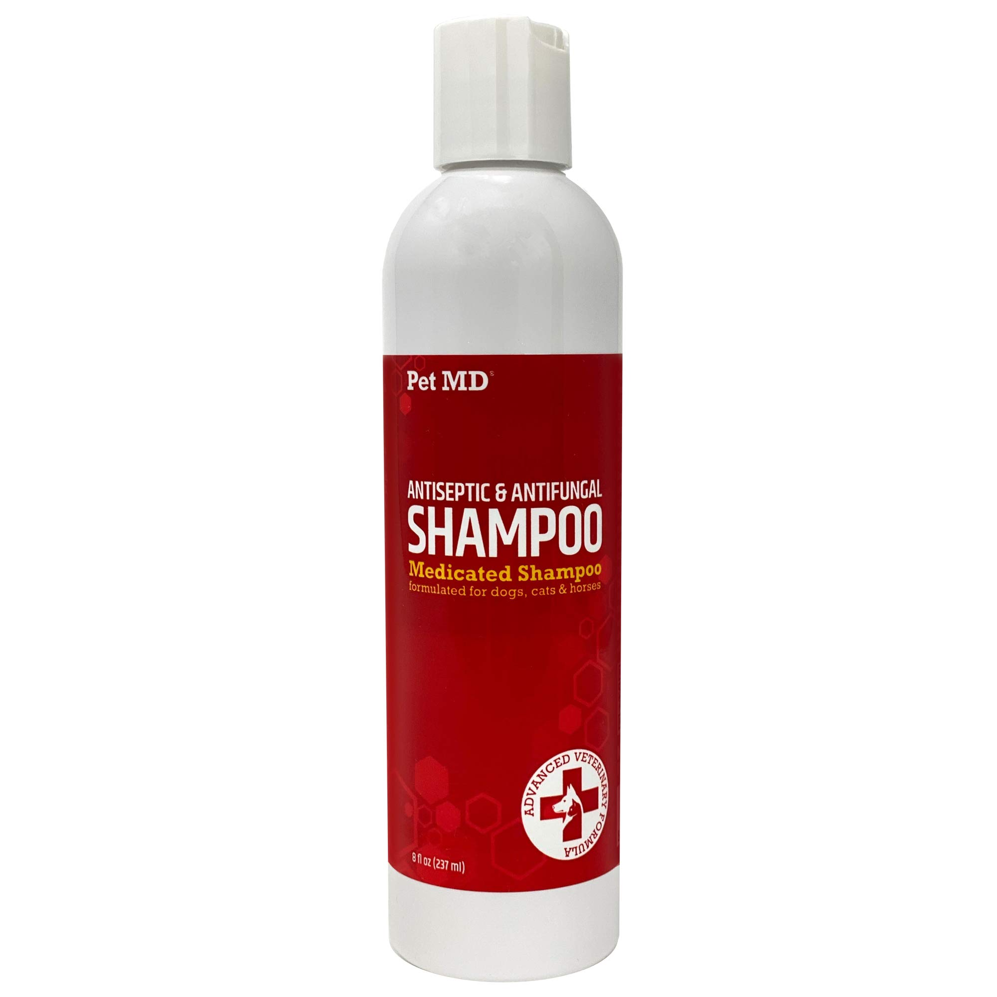 Pet MD Medicated Shampoo for Dogs, Cats, & Horses - Medicated Dog Shampoo with Ketoconazole & Chlorhexidine - Skin Infections, Anti Itch, Allergies, Abrasions, & Acne - 8 oz