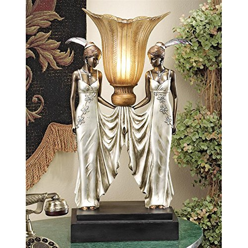 Design Toscano Art Deco Peacock Maidens Sculptural Table Lamp, 20 Inch, Polyresin, Bronze and Pearl Finish ()