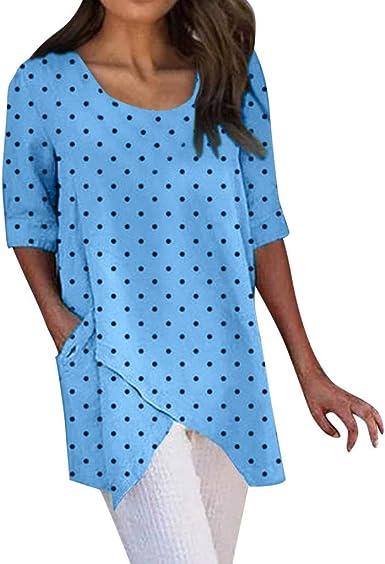 ZODOF Mujeres Camisetas Moda Mujer Asimétrico Media Manga Lunares Dobladillo Irregular Elegante Tops Blusa Verano Camisas Mujer: Amazon.es: Ropa y accesorios