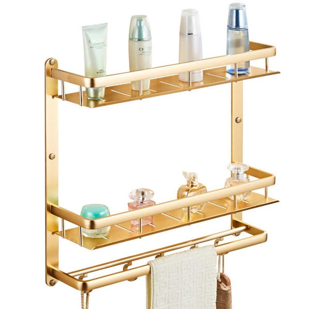 F.A.N.G.YUN Bathroom Shelf Free Punching Double Layer Space Aluminum Bathroom Storage Rack Antique Titanium Gold