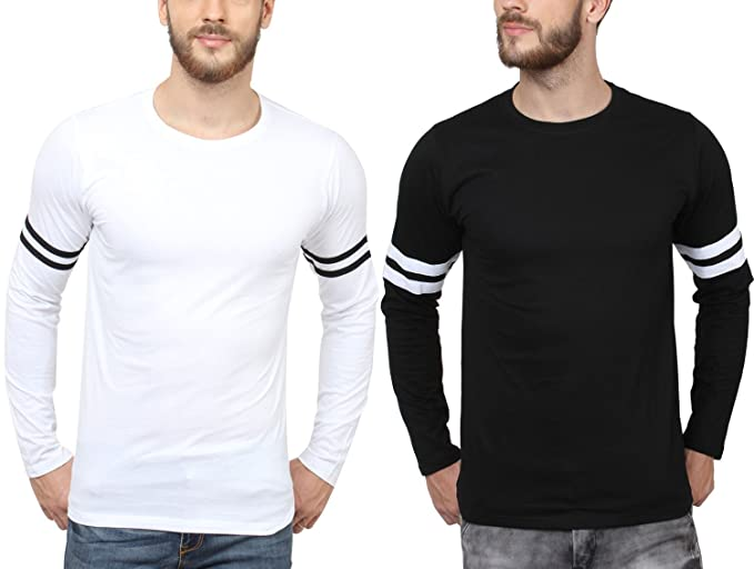 94eed51c6639 SAYITLOUD Solid Men's Full Sleeve T-Shirt  (C40SOLIDBLACKWHITE1WHITEBLACK1-3XL_Black White White Black_XXX-