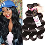 Unice Hair 3 Bundles 7A 100% Virgin Peruvian Human Hair Body Wave Weave Hair Extension with Mixed Length 95g-100g Per Bundle (16 18 20, Natural Color)