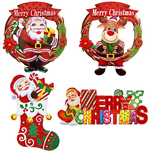 4pcs Christmas Door Hanging Sign Board, Large Home Wall Hanging Decorations Ornaments Santa Claus Reindeer Decorative Front Door Wreath for Holiday Party Indoor Outdoor Fireplace Show Window (F)