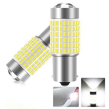 Bombillas LED Coche Luz Diurna Drl S25 Ba15S 1156 144SMD 1200 L 6000 K XENON LED