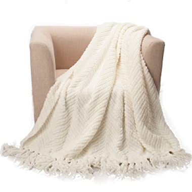 Battilo Knit Zig-Zag Textured Woven Throw Blanket, 60  L x 50  W, White