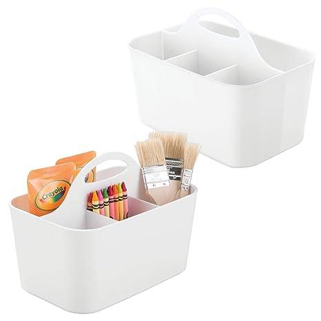 mDesign Juego de 2 cajas organizadoras plásticas – Para usar como costurero, portalápices o para