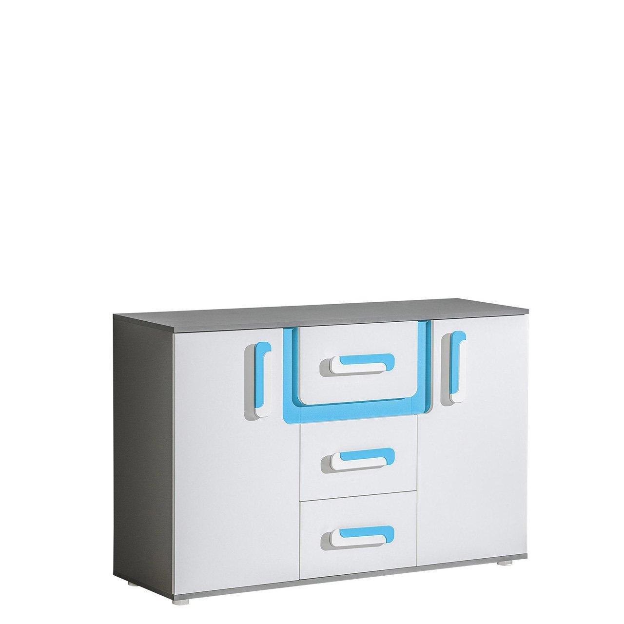 Mirjan24  Kommode Apetito AP07 mit 3 Schubladen, Sideboard, Schubladenkommode, Highboard für Jugendzimmer (Anthrazit/Weiß + Türkis)
