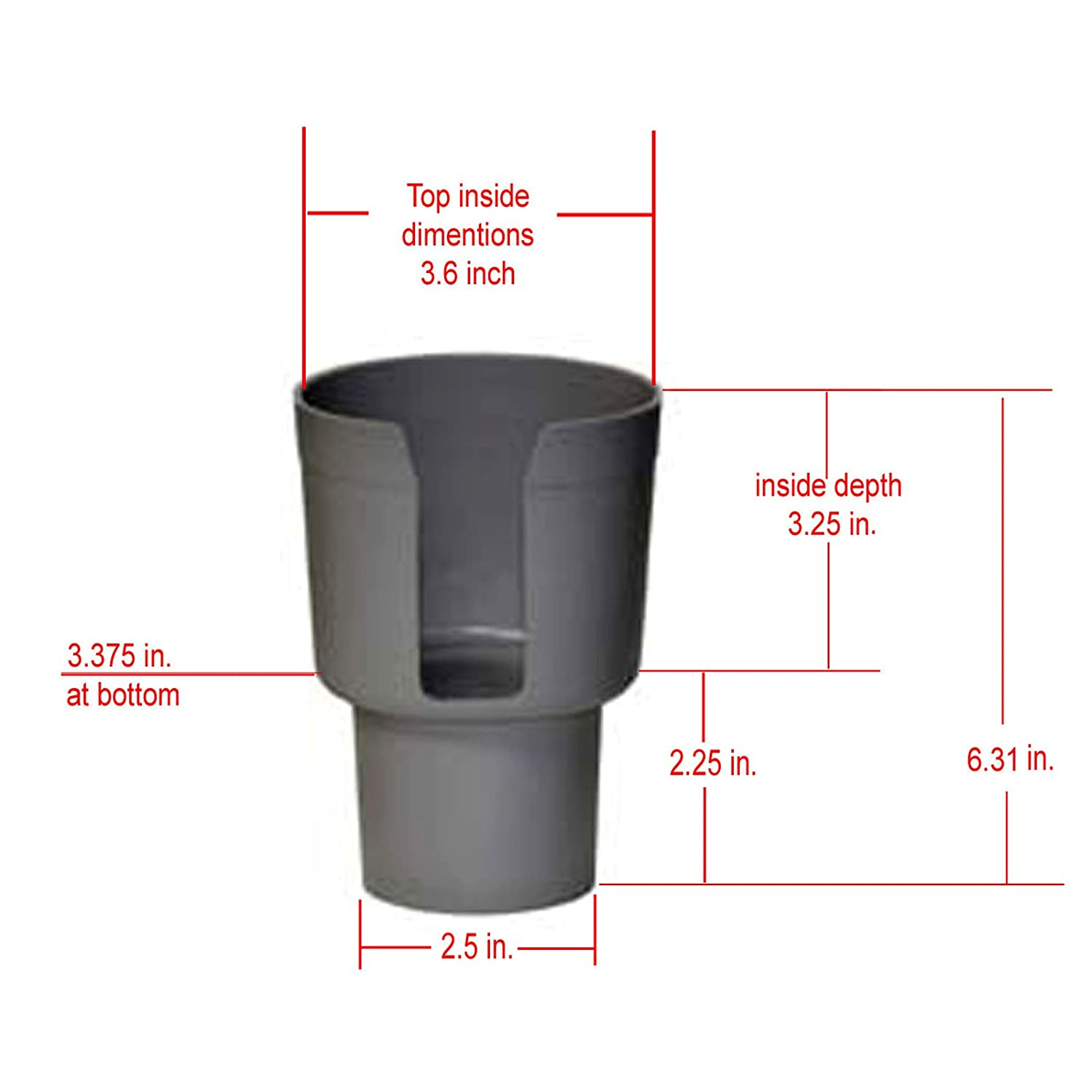 Convenience Store Cups Water Soda Bottles with up to 3.6 Diameter Gadjit Cup Keeper Gray Car Cup Holder Adapter Expands Cup Holders to Hold Mugs