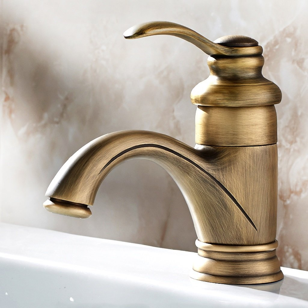 Wate Faucet Antique Hot and Cold Copper Bathroom Basin Faucet