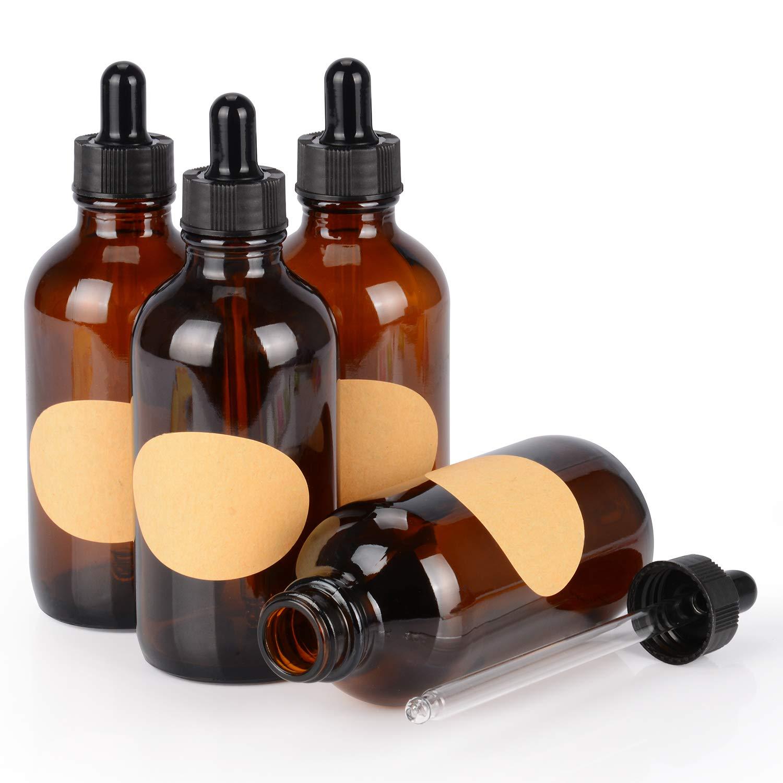 StonyLab 120ml (4 oz) 4-Pack Frasco Gotero de Vidrio, Botella Cuentagotas de Vidrio Vacío Marrón con Vidrio Cónico y Etiqueta, para Fragancias de Aromaterapia de Aceites Esenciales