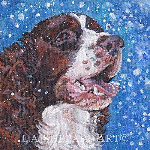 (A English Springer Spaniel dog art portrait print of an LA Shepard painting 12x12