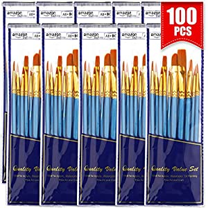 BOSOBO Round-Pointed Paintbrush Sets, 10 Pack / 100 pcs Fine Tip Nylon Hair Wooden Handle Detail Artist Paint Brushes in…