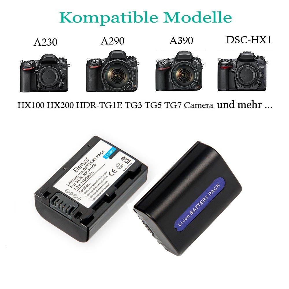 elenxs de NP-FH50 de baterías de repuesto (2 unidades), USB dual ...