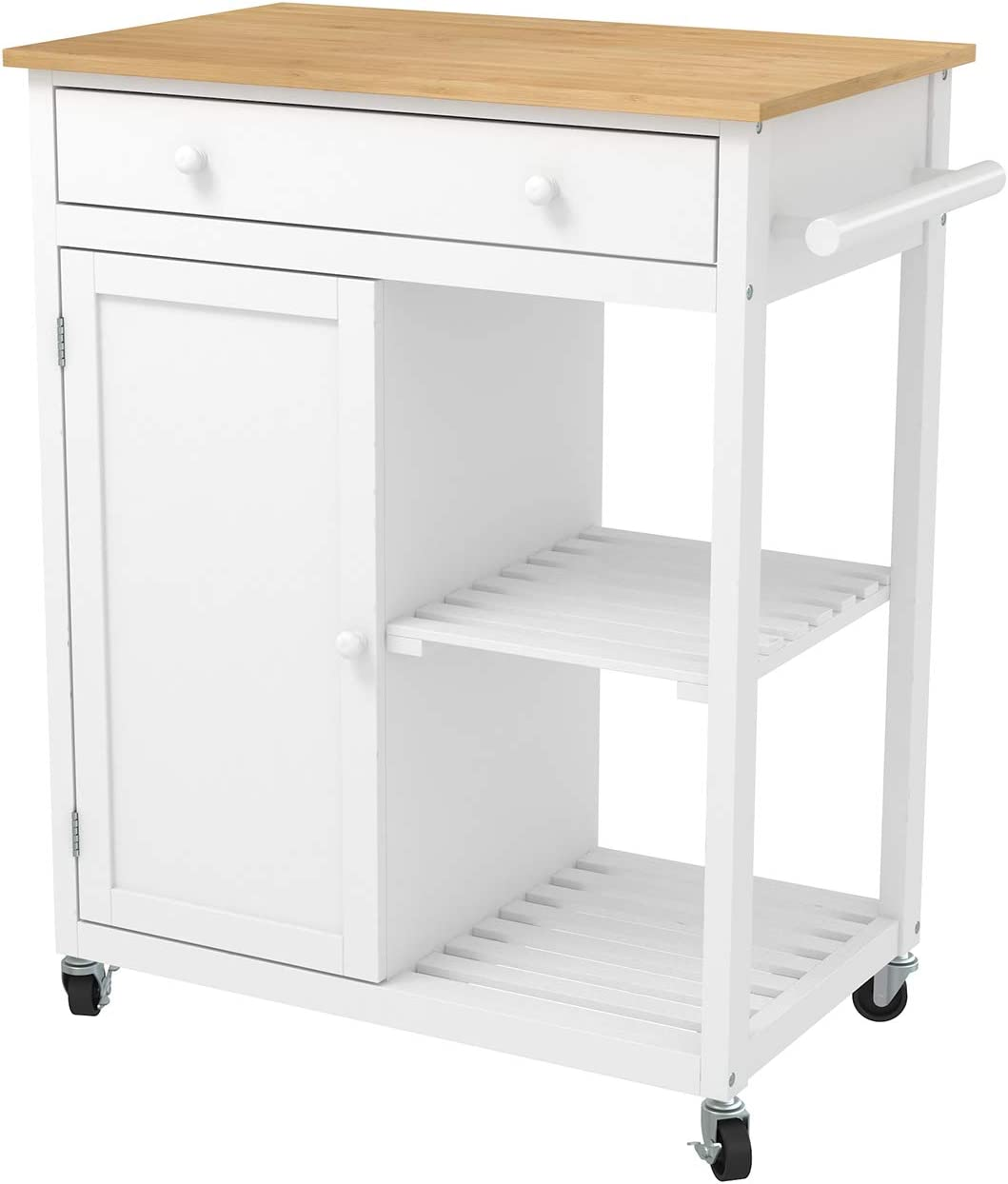 Mecor Kitchen Island Cart w/Wood Top, Rolling Utility Trolley on Wheels with Storage Drawer, Shelves and Cabinet (White)