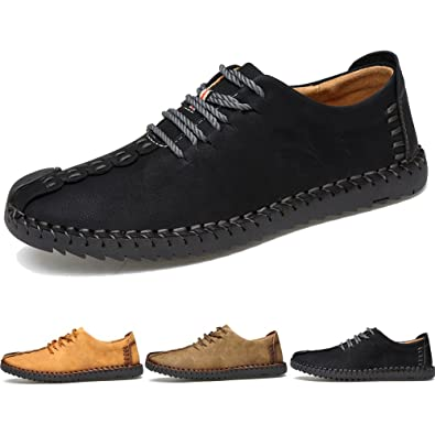 Men's Fashion Flexible Oxford Casual Lace-up Leather Soft Breathable Loafer Shoes Flats