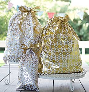 Reusable Fabric Gift Bags (Jumbo Set, Gold) - Wrap Presents in Seconds!