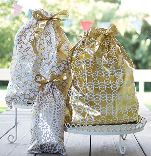 Reusable Fabric Gift Bags (Large Set, Gold) - Set of 3 bags, two 16x20 inch and one 12x16 ()