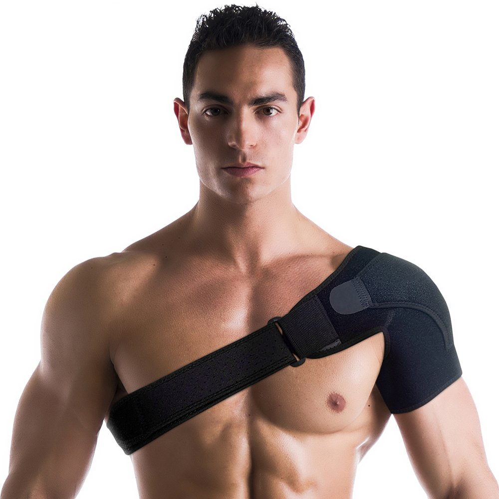 Shoulder Support Brace/Compression Sleeve - Adjustable Wrap Provides Stability, Therapy, Recovery and Injury Relief for Rotator Cuff, Dislocated AC Joint, Sprain, Labrum Tear, Rehab, Shoulder Pain