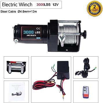MegaFlint 3500LB ATV Winch UTV 12V Electric 3500 LB//1591kg Off Road Kit A Recovery Winch Truck SUV Wireless Remote Controller