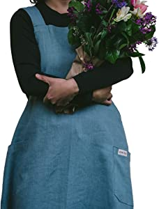 BOHE TRUE Linen Aprons for Women - Crossback Aprons for Women - Japanese Linen Apron for Women- Ethically Made in Europe from European Linen- Dusty Turquoise