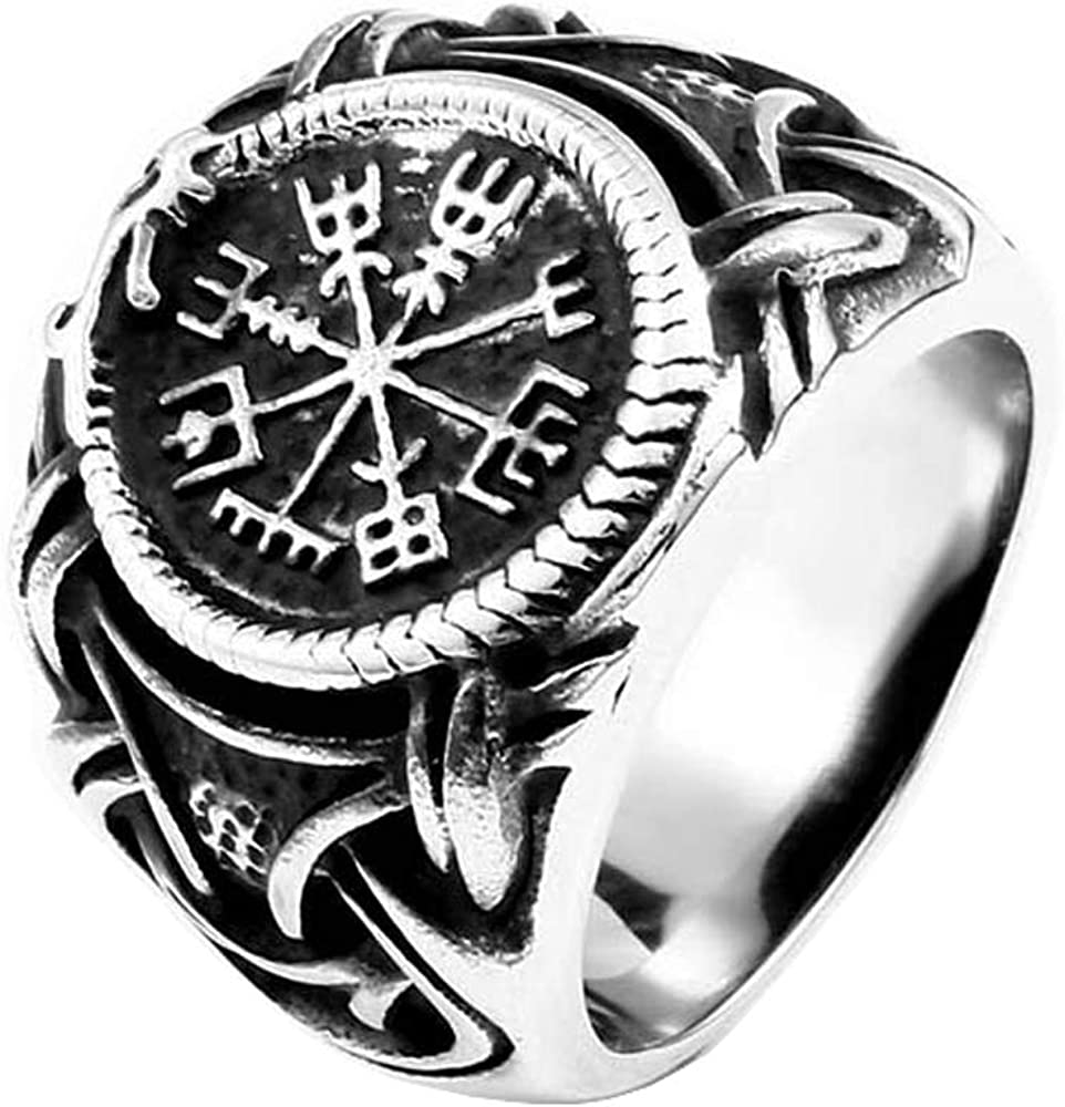 ZMY Home Fashion Jewelry Stainless Steel Rings, Nordic Pagan Round Vikings Ring for Men