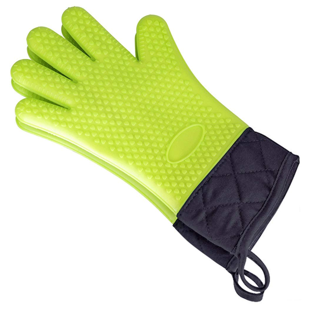 Silicone Gloves, High Temperature Resistant, Non-Slip Gloves, Five Fingers, Silicone Gloves, Suitable for Microwave Ovens, 34cm (1 Pair) (Color : Green, Size : 34cm)