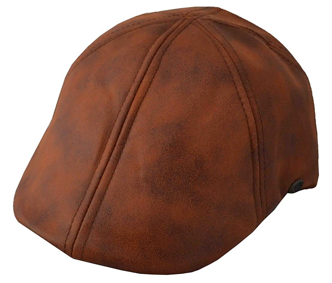 Epoch Mens Leather Feel IVY newsboy duckbill Cap Hat Tan