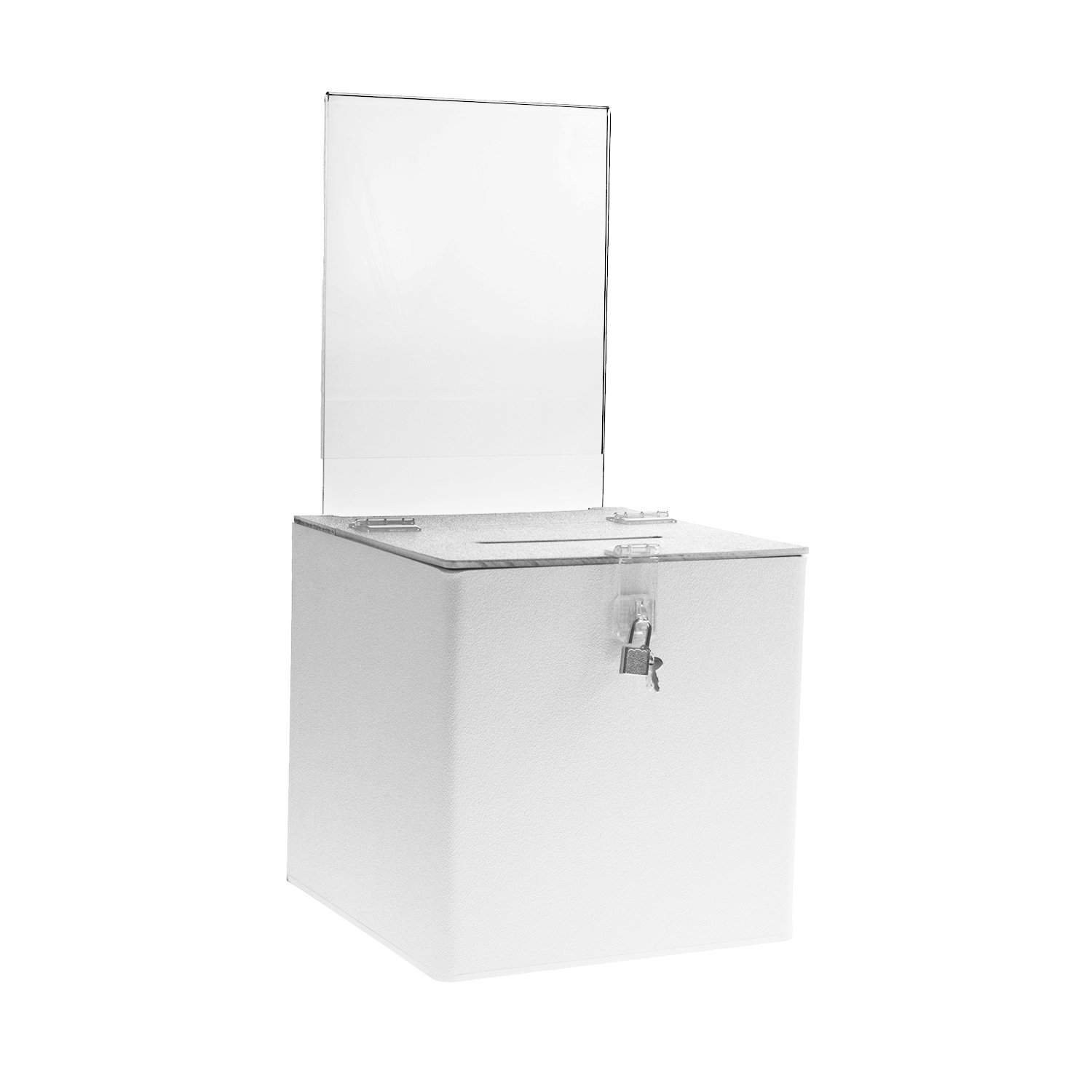 Source One Deluxe Acrylic Donation Box with Sign Holder & Hasp Lock, Multiple Sizes, Black, White & Clear Options (12 Inch, White)