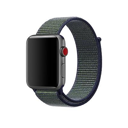 Wristwatch Bands Apple Watch 1 2 3 4 42mm 44mm Armband Band Black Deep Red Nylon Sport Loop