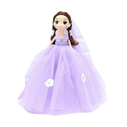 Y56 10 Pulgadas Kawaii Lazo Boda Vestido Princesa Muñeca Colgante Cute Baby Llavero Llavero, Morado