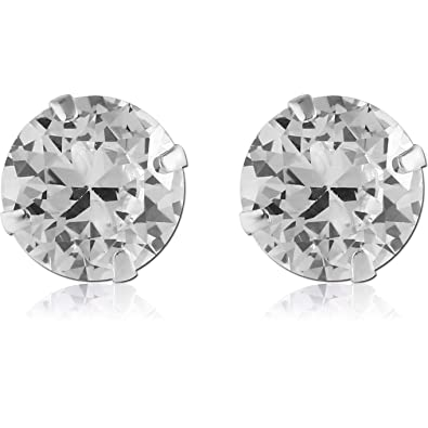 c4d53f3f8 Amazon.com: Sterling Silver Simulated Diamond Large Stud Earrings: Jewelry