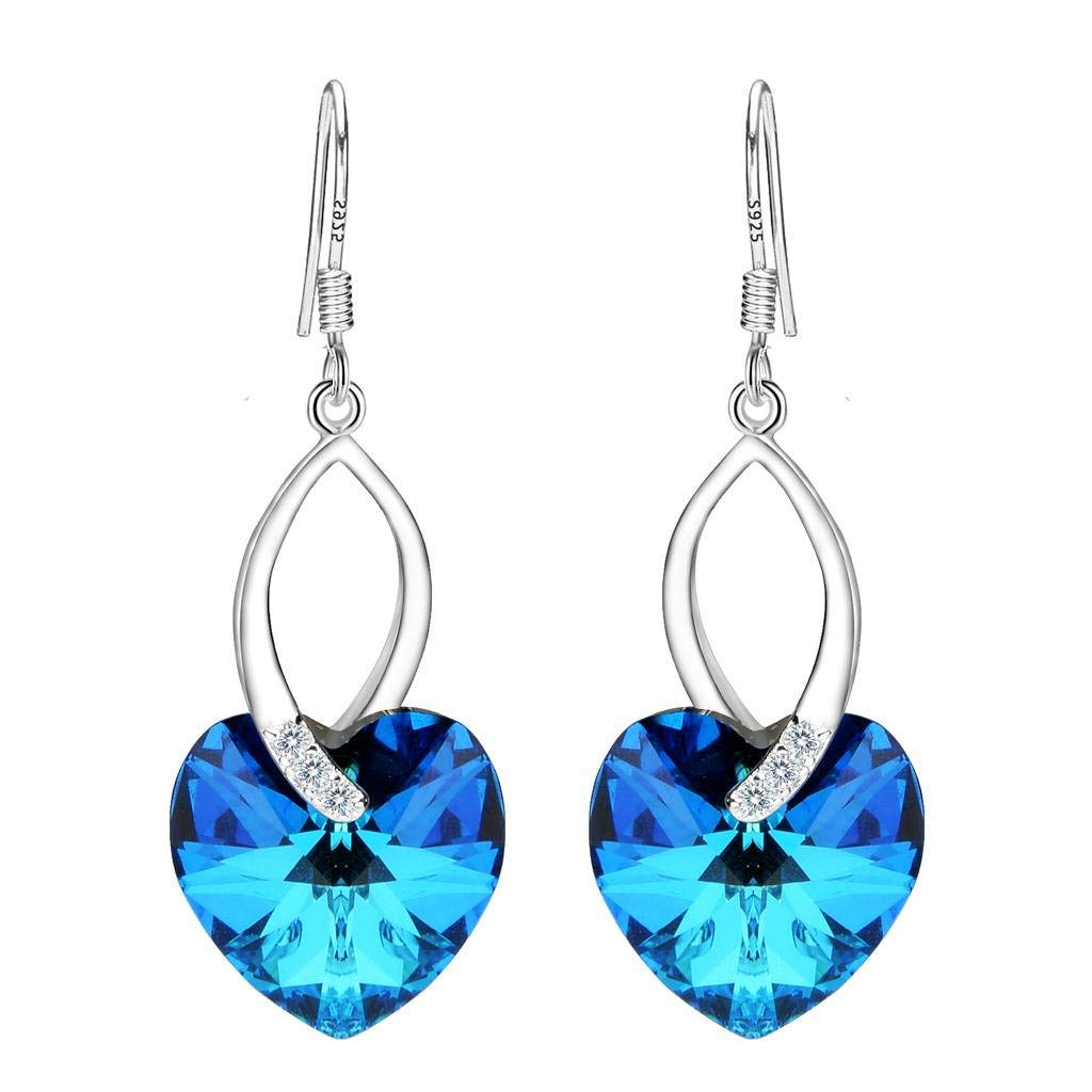EleQueen 925 Sterling Silver CZ Love Heart French Hook Dangle Earrings Bermuda Blue Made with Swarovski Crystals