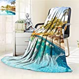 YOYI-HOME Custom Design Cozy Flannel Duplex Printed Blanket of A Pool in A Health Resort Spa Hotel with Exotic Elements Sports Modern Photo Multi Lightweight Blanket Extra Big /W79 x H59