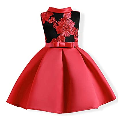 a60c5e20068e Kid Dress, Neartime 2018 Child Princess Party Dress Flowers Embroidery  Wedding Formal Ball Gown Skirts (3T, Red): 🔥Neartime🔥