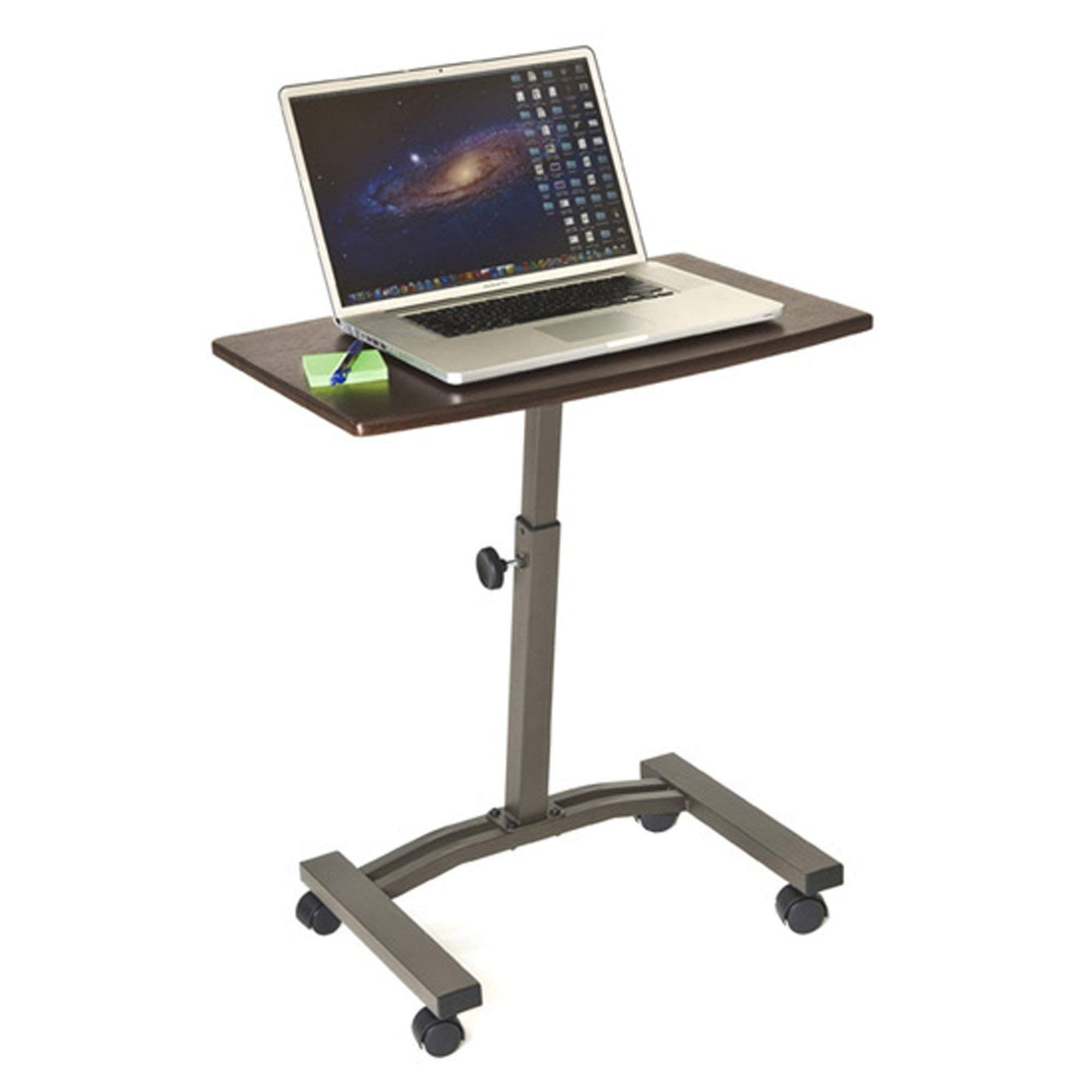 Seville Classics Mobile Laptop Computer Desk Cart Height-Adjustable from 20.5in to 33in, Slim, Walnut (Renewed)