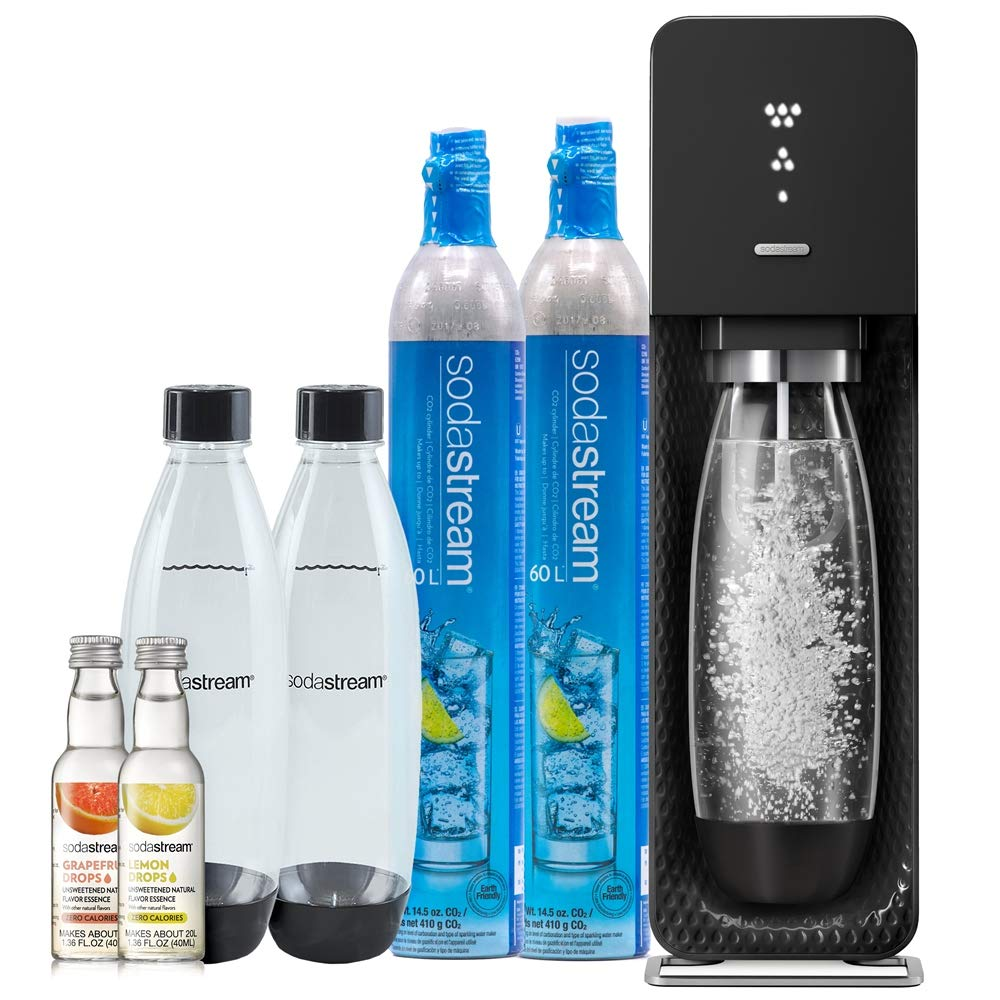 SodaStream Source Sparkling Water Maker with LED Fizz Indicator Display Bundle, with CO2, Bottles and Fruit Drops (Black) 1101100010