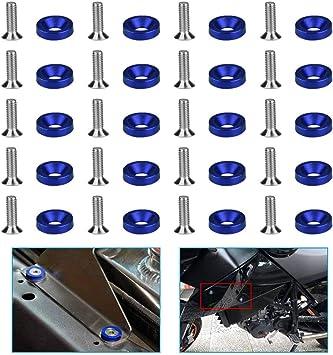 Sspecotnr 20 Stücke Aluminium Stoßfänger Kotflügel M6 Schrauben Blau Mit Abdeckkappen Kennzeichenschrauben Set Unterlegscheibe Gewindeschraubenset Kennzeichenhalterung Für Motorrad Quad Nummernschild Auto