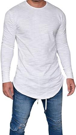 Reooly Hombres Slim Fit O-Cuello de Color sólido de Manga Larga Muscle Top Informal Top
