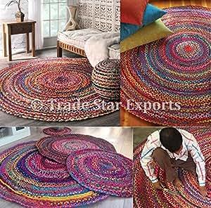 Alfombra redonda trenzada alfombra india alfombras for Alfombras etnicas