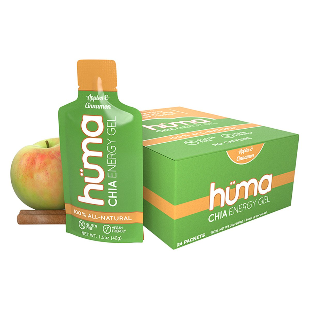 HUMA NUTRITION Huma Chia Energy Gel Box of 24 Apple Cinnamon Box of 24 Energy