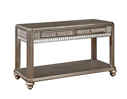 Traditional Metallic Sofa Console Table Mirrored Accents On Top 2 Drawers 1  Shelf Turned Bun Feet