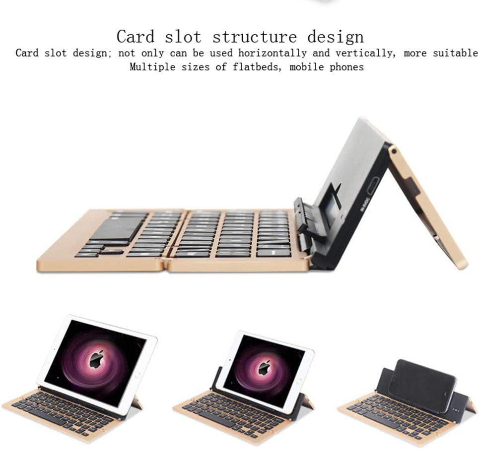 Universal Three-Fold Wireless Aluminum Alloy Suitable for Apple//Android//Windows Three Systems ZUEN Bluetooth Keyboard Button Life 50 Million 58 Key