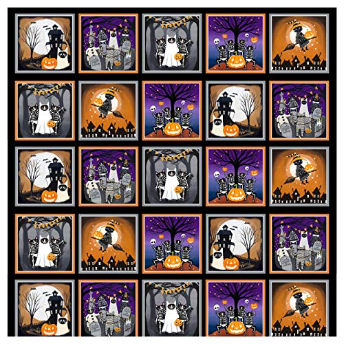 Blank Quilting So Adora-Boo! (Glow In The Dark) 36'' Block Panel Black
