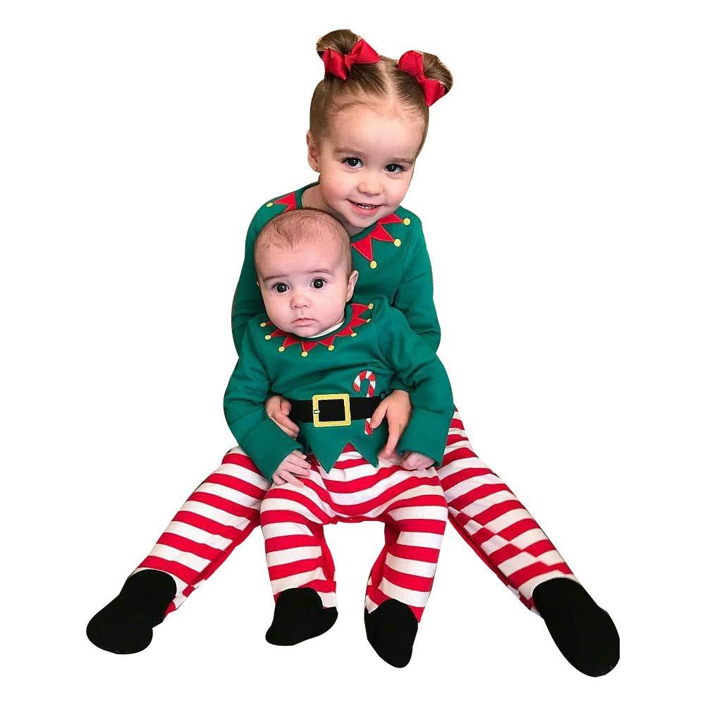 ZOMUSAR 3PCS Christmas Newborn Baby Boys Girls T Shirt Tops Striped Pants+Hat Toddler Fashion Outfits Set