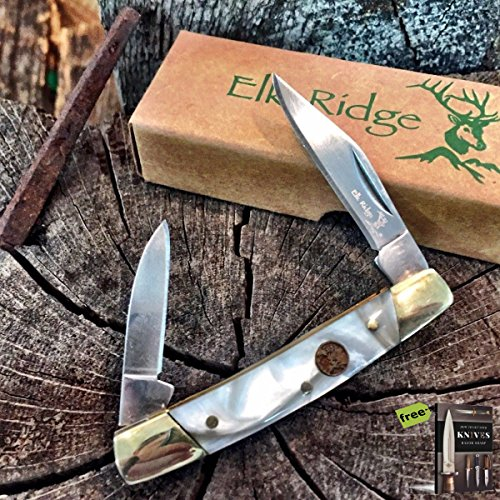 Pearl Mini Trapper (Elk Ridge Mother Of Pearl Handle Hunter Trapper Folding Pen Pocket Knife + Free eBook by SURVIVAL STEEL)