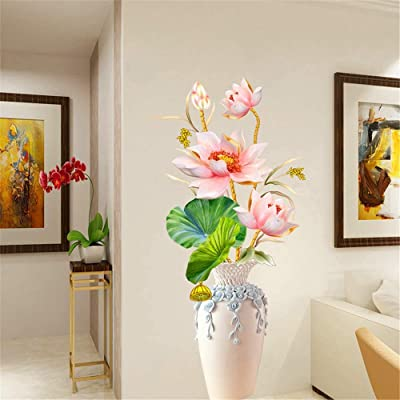 AAPBB Vase of Lotus Wall Decals Flower Wall Stickers Waterproof Vinyl Self Adhesive Removable Art Murals Wall Sticker for Living Room Bedroom Nursery House DIY Decoration: Kitchen & Dining
