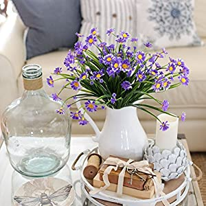NAHUAA Artificial Plants, 4PCS Fake Daisy Flowers Greenery Bush Faux Plastic Wheat Grass Shrubs Table Centerpieces Arrangements Home Kitchen Office Indoor Outdoor Spring Decorations Purple 5