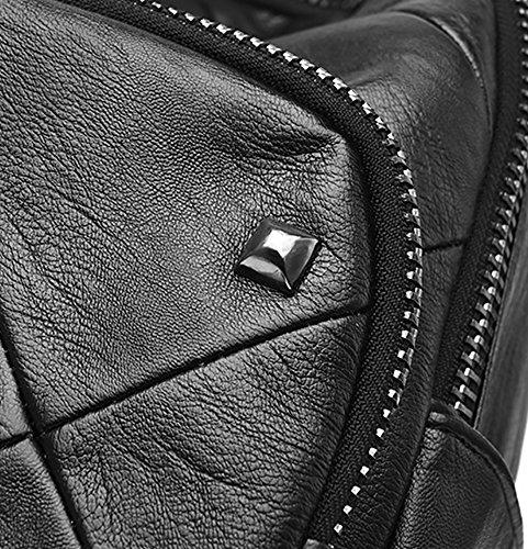 CLOTHES- Borsa a tracolla delle signore Zaino nera di cuoio molle selvatico di personalità di modo coreano