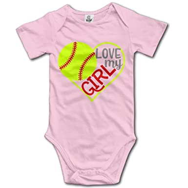 dd49dfe6f Amazon.com: WUGOU Baby Bodysuit Softball Heart Short Sleeves Triangle  Romper Bodysuit Outfits Infant Toddler Clothes: Clothing